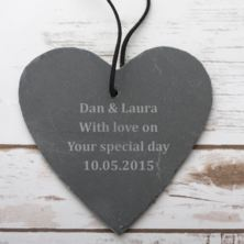 Personalised Small Hanging Slate Heart