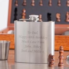 Personalised 6oz Flask In Wooden Chess Set Box With 2 Cups & Funnel