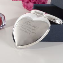 Personalised Shiny Silver Heart Mum Compact Mirror