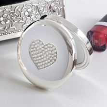 Personalised Luxury Crystal Heart Compact Mirror