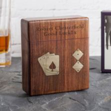 Personalised Playing Card and Dice Set In Wooden Box