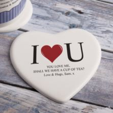 Personalised I Heart U Heart Ceramic Coaster