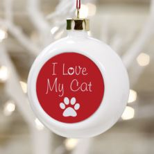 I Love My Cat Personalised Christmas Bauble