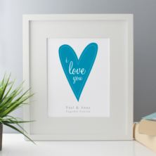 I Love You Personalised Framed Print - Blue