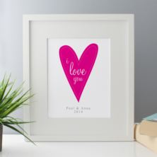 I Love You Personalised Framed Print - Pink