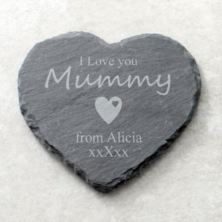 I Love You Mummy Personalised Heart Shaped Slate Coaster
