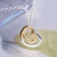 Double Heart Pendant in Personalised Gift Box