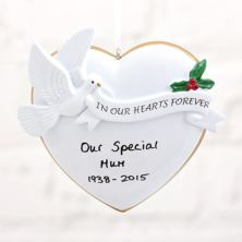 Personalised In Our Hearts Loving Memory Hanging Ornament
