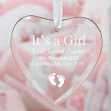 It's a Girl Personalised Glass Heart