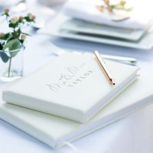 Personalised Mr & Mrs Wedding Ivory Leather Guest Book