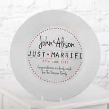 Personalised Just Married Wedding Plate