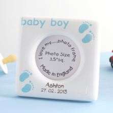 Personalised Baby Boy Fine Bone China Photo Frame