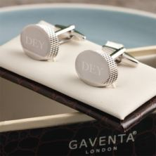 Engraved Polished Oval Cufflinks in Personalised Gift Box