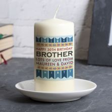Personalised Male Birthday Age Candle