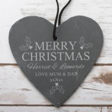 Personalised Merry Christmas Slate Hanging Heart