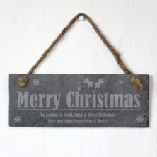 Personalised Merry Christmas Slate Plaque
