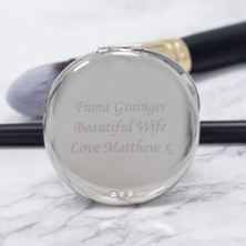 Personalised Crystal Round Double Compact Mirror