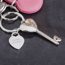 Personalised Heart Key Keyring