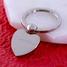 Engraved Heart Ball Keyring
