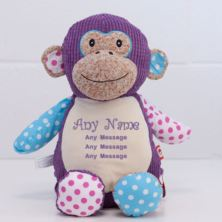 Personalised Embroidered Cubbies Harlequin Monkey Soft Toy