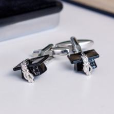 Graduation Mortar Board Hat Cufflinks In Personalised Chrome Box