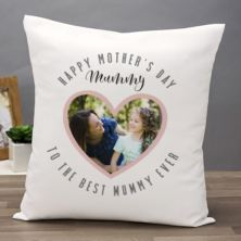 Personalised Best Mum Ever Heart Photo Cushion