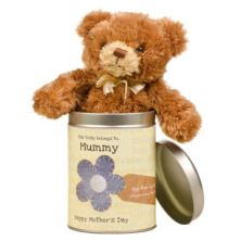 Personalised Mother's Day Teddy in a Tin with words