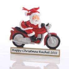 Santa on a Motorcycle Ornament