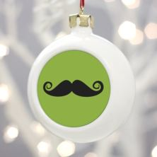 Personalised Moustache Christmas Bauble