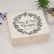 Personalised Mr and Mrs Wooden Memory Box