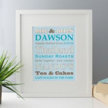 Personalised Our Favourite Things - Mr & Mrs Framed Print