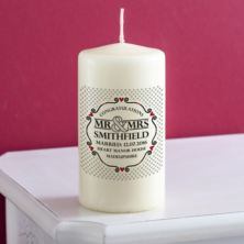 Personalised Mr and Mrs Heart Design Candle