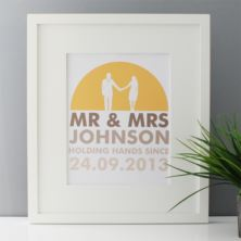 Personalised Mr & Mrs Holding Hands Framed Print