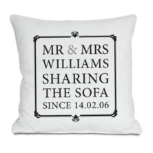 Mr & Mrs Sharing The Sofa Personalised Cushion