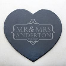 Personalised Mr & Mrs Heart Slate Cheese Board