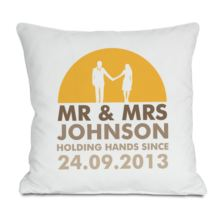 Personalised Mr and Mrs Holding Hands Cushion