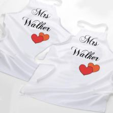 Mrs and Mrs Personalised Aprons