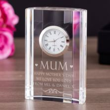 Personalised Mum Crystal Mantel Clock