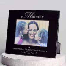 Personalised Mummy Black Glass Photo Frame