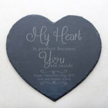 Personalised My Heart Is Perfect Slate Heart Placemat