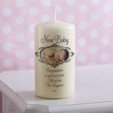 Personalised New Baby Photo Candle