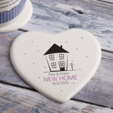 Personalised New Home Heart Shaped Ceramic Coaster