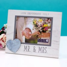 Personalised Mr & Mrs Wedding Frame With Heart Icon