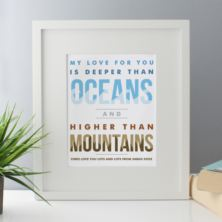 Personalised Oceans And Mountains Framed Print