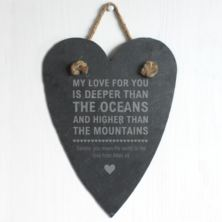 Personalised Oceans and Mountains Slate Hanging Heart
