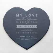 Personalised Oceans and Mountains Slate Heart Placemat