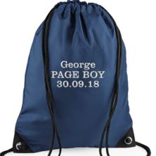 Personalised Embroidered Navy Blue Page Boy Drawstring Bag