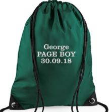 Personalised Embroidered Green Page Boy Drawstring Bag