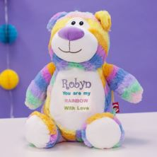 Personalised Embroidered Cubbies Pastel Rainbow Bear Soft Toy