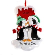Personalised Kissing Penguins Hanging Ornament